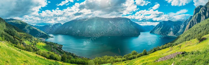 Sogn And Fjordane Fjord, Norway. Panorama Panoramic View Of Amaz