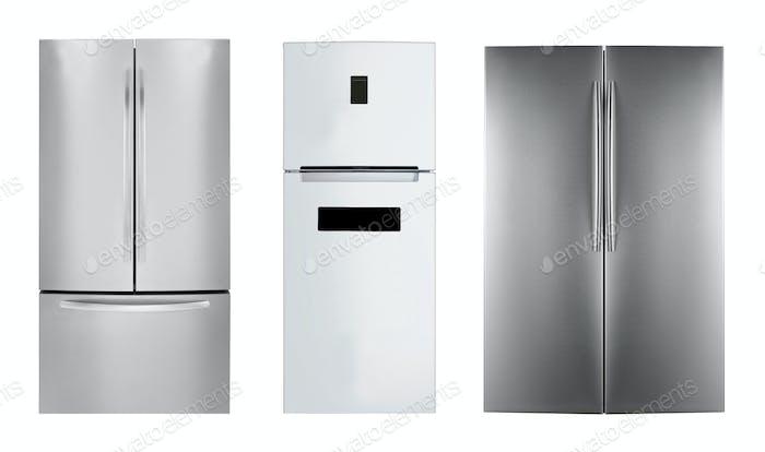 three stainless steel refrigerators
