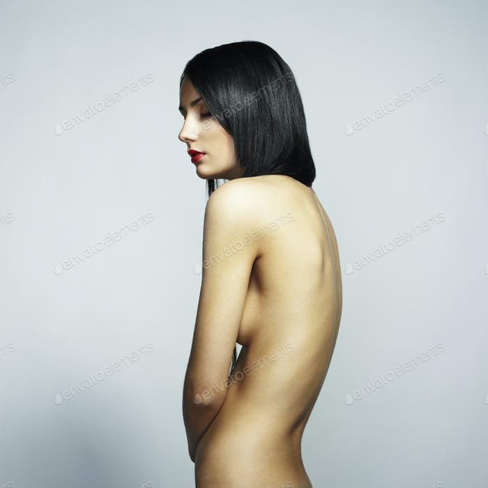 Fashion photo of a beautiful nude woman