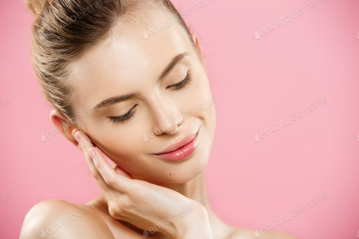 Beauty Spa Concept - Caucasian Woman with perfect face skin Portrait. Beautiful Brunette Spa Girl