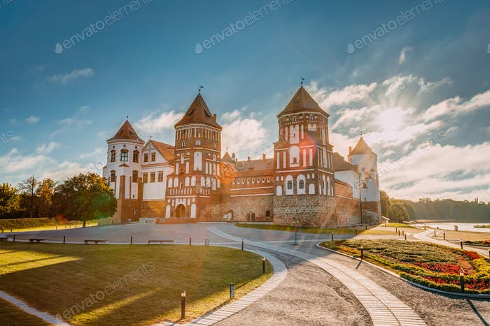 Mir, Belarus. Sunshine Above Castle Complex Mir During Summer Mo
