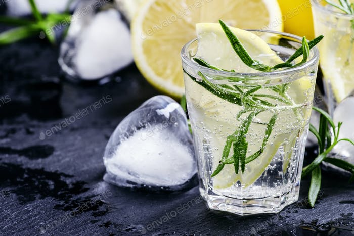 Refreshing lemon drink with rosemary, ice and tonic
