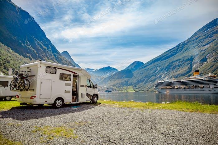 Geirangerfjord, Norwegen. Familienurlaub RV, Urlaub Reise