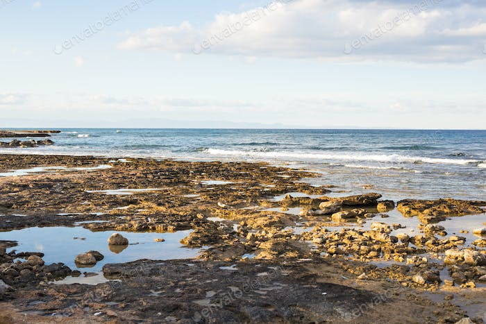 The rocky shore by the sea