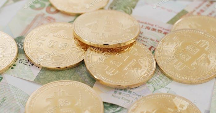 Bitcoin and Hong Kong banknote