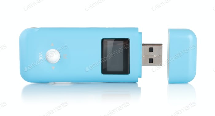 Blue MP3 player isolated