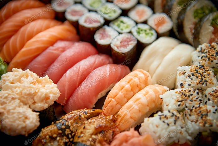 Close up of various types of japanese fresh prepared sushi