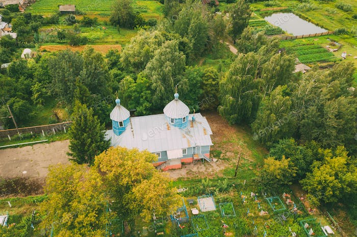 Khal'ch, Vetka District, Belarus. Aerial View Old Church of the Archangel Michael. Top View From
