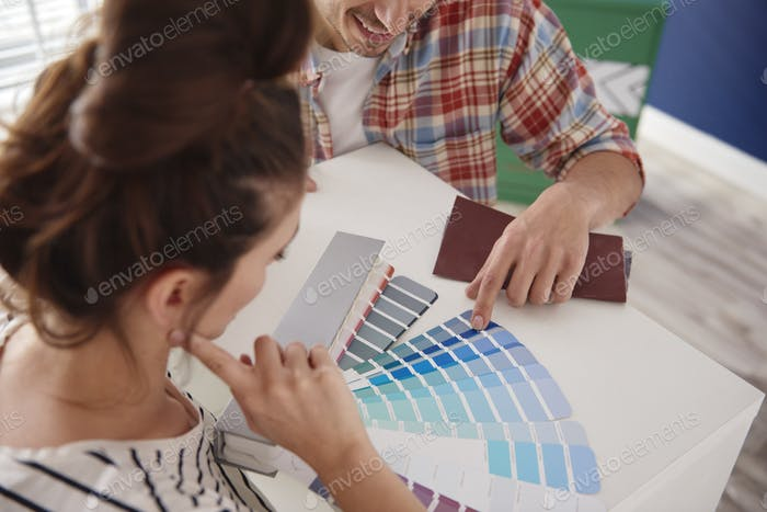Couple cannot decide about the room color