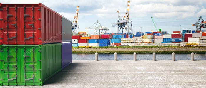 Cargo containers, harbor background. Import export, logistics concept. 3d illustration