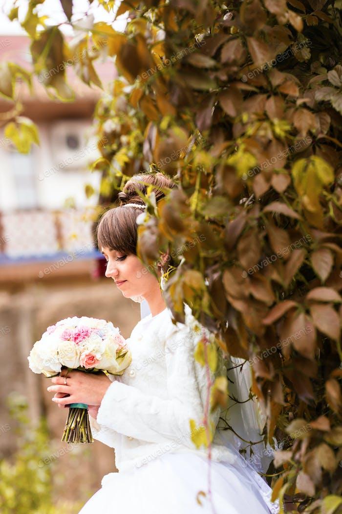 Bride on autumn nature