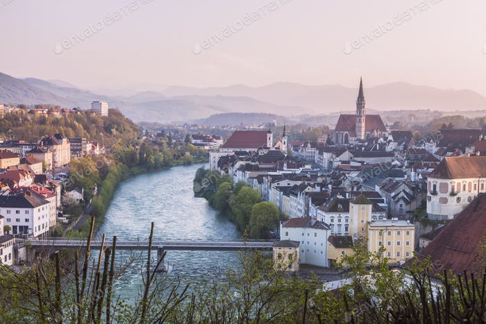 Panorama of Steyr at sunset