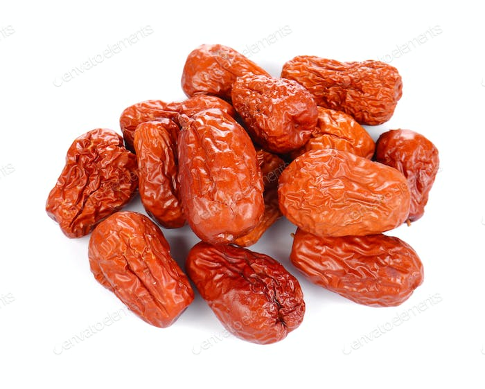 Chinese jujube on white background.