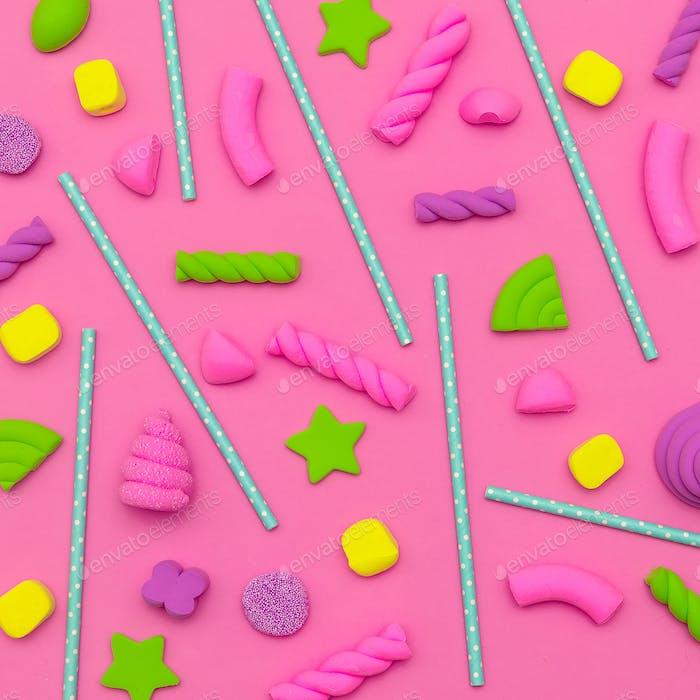 Süßer Hintergrund. Candy Minimal Flatlay-Kunst