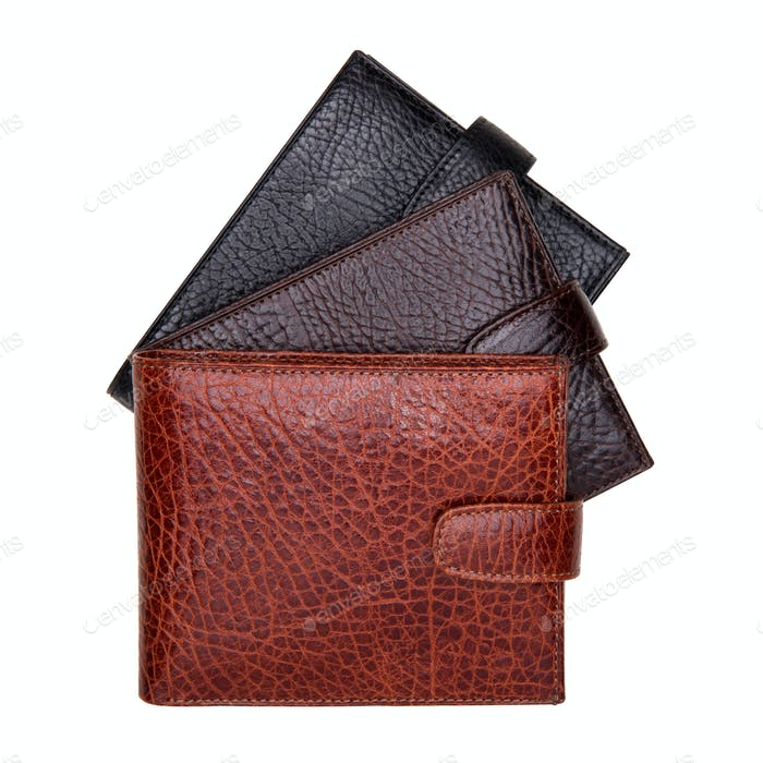 Set of three men wallets colseup