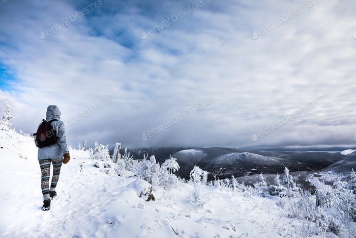 Woman Hiking High in the Mountains during Winter