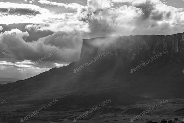 Roraima Tepui or table mountain under the clouds