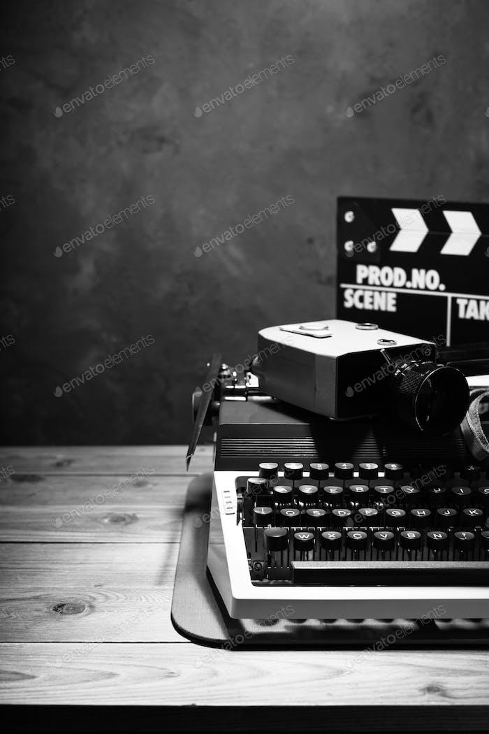 writer or screenwriter concept from vintage retro typewriter