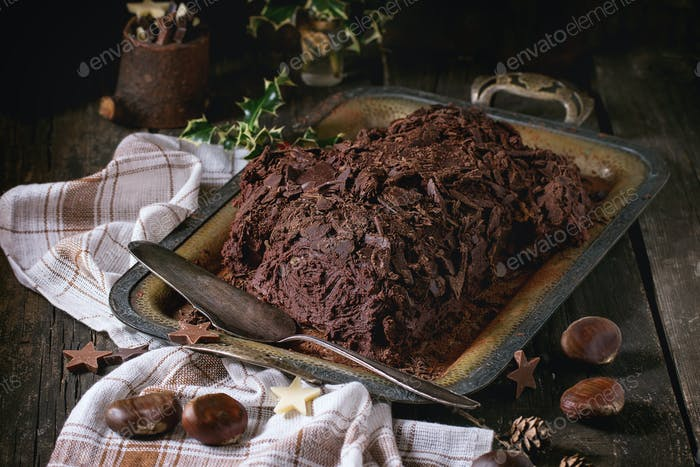 Homemade christmas chocolate yule log