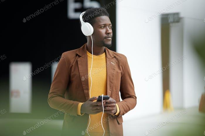 Pensive black man in lobby