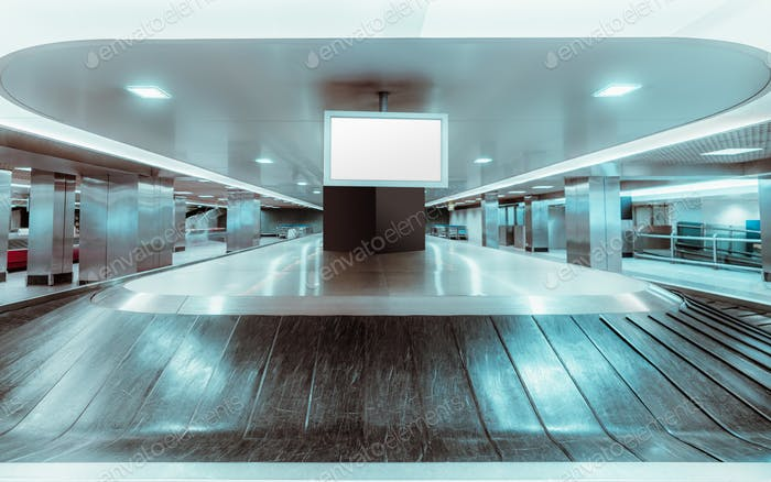 Mockup of plasma tv, baggage claim