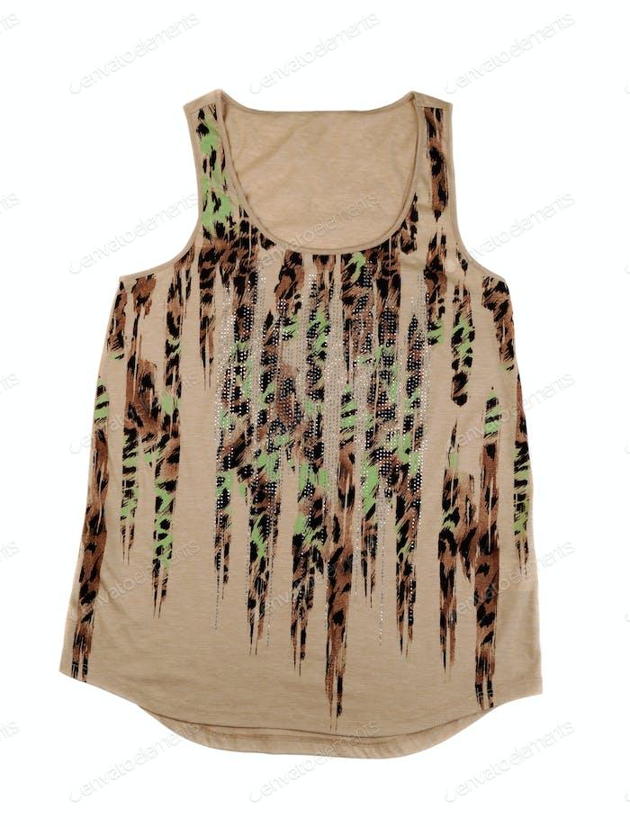 Beige Women's T-shirt with a pattern.