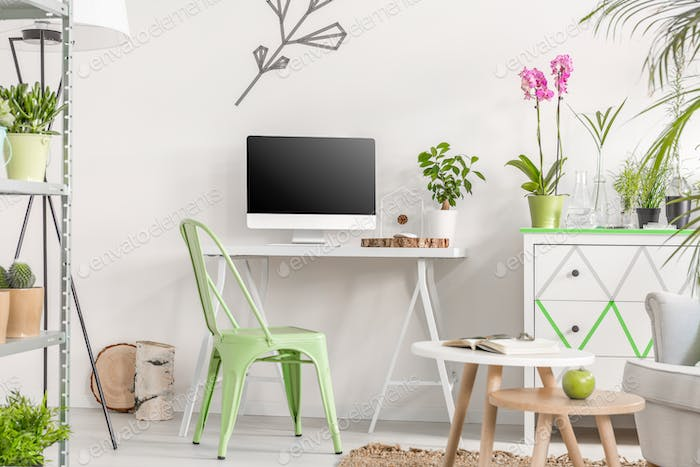 Room interior with a minimalist space for work