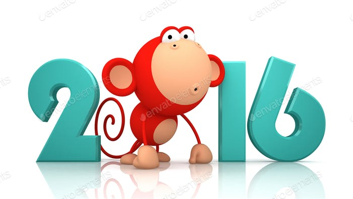 Monkey and 2016 on white background