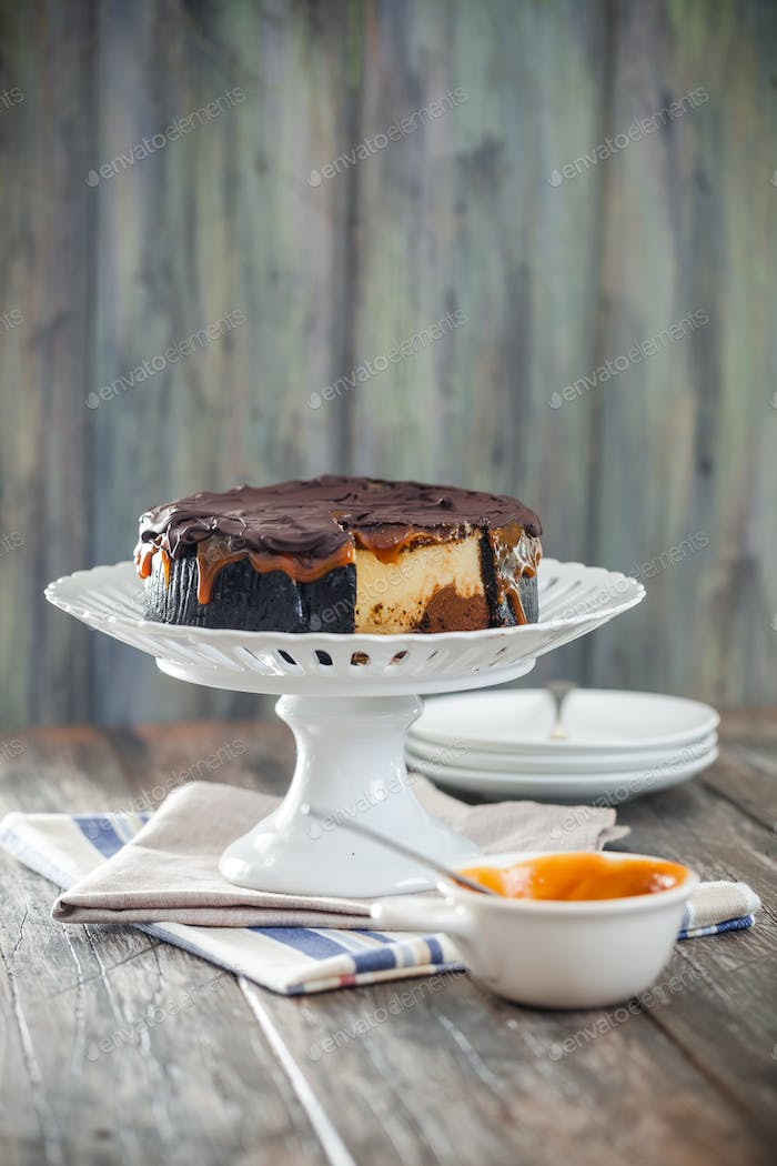 Homemade delicious chocolate and caramel cheesecake