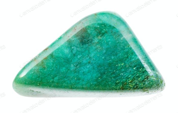 polished Fuchsite (chrome mica) gemstone isolated