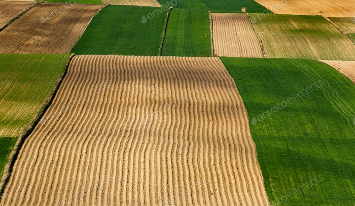 Colorful Farmfields in Coutryside. Farmland and Fields at Rolling Hills