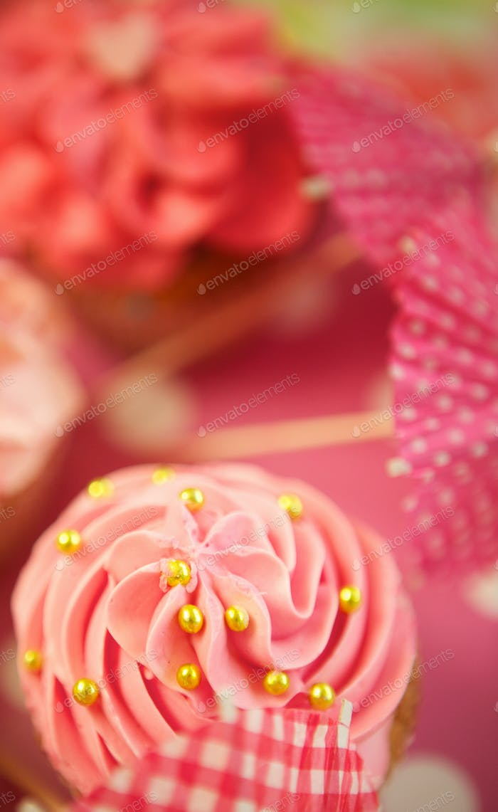 Pink Cupcakes with Sprinkles and Frosting