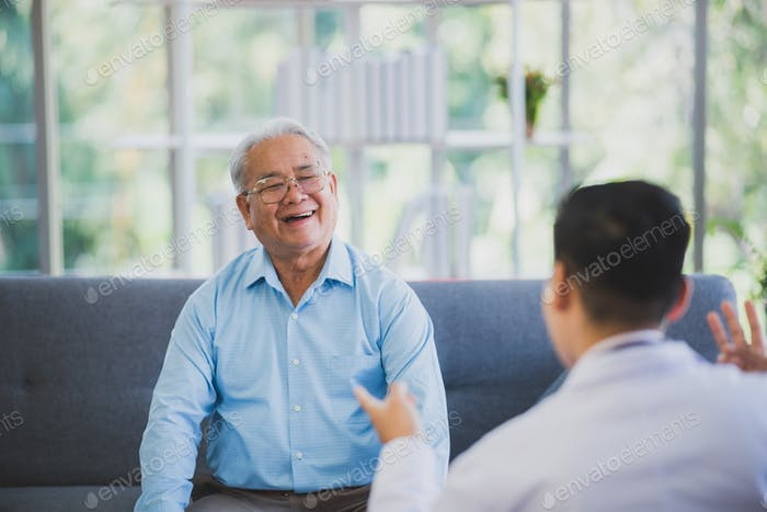 happy smile senior patient with doctor after checking at hospital