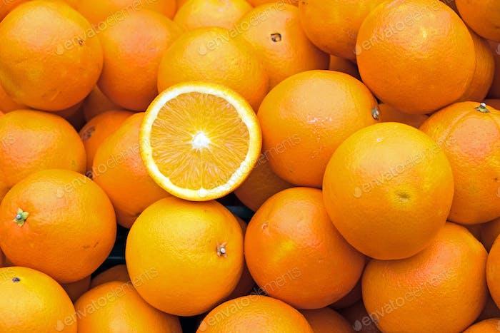 Ripe oranges for sale