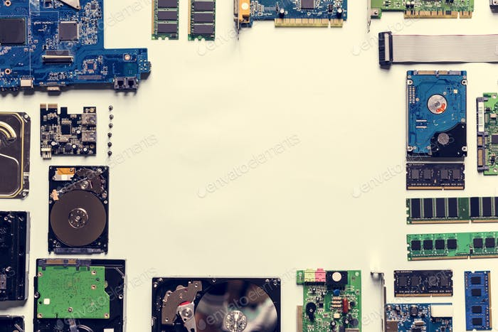 Motherboard and HDD isolated on background