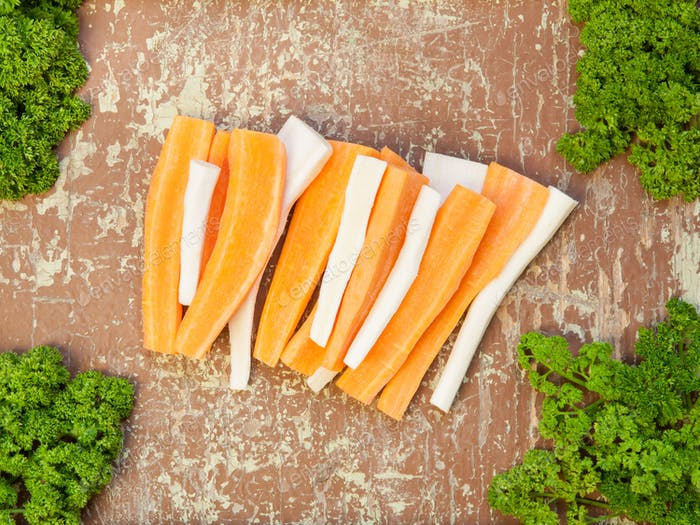 Thumbnail for Freshly chopped root vegetables