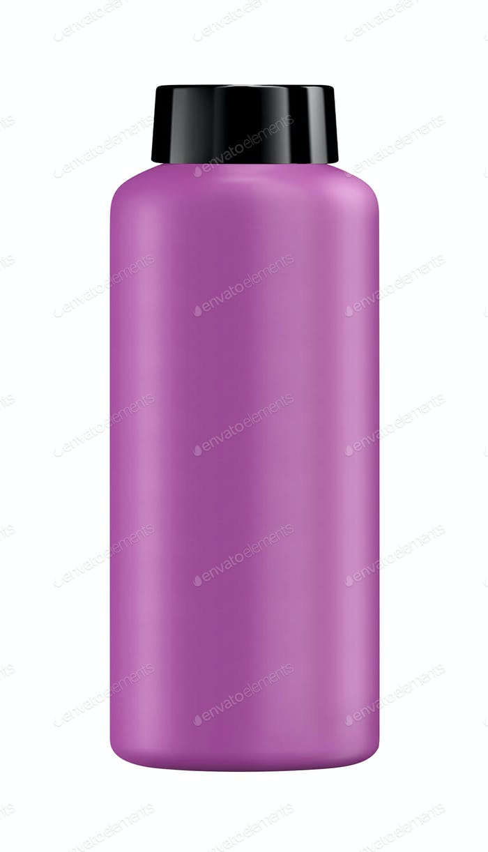 Shampoo in a purple plastic bottle isolated