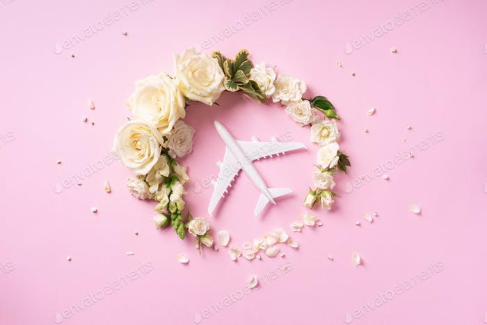 Wreath made of white roses and plane on pink background. Travel concept. Flat lay, top view. Banner