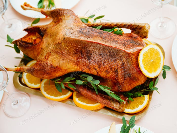 Roasted goose with oranges