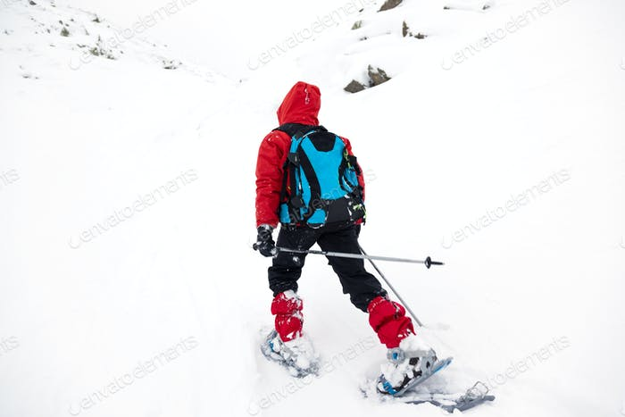 Young boy hikes in mountain with snowshoe