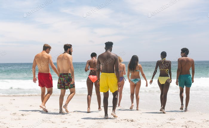 Rear view of multi ethnic friends relaxing while walking at beach on sunny day