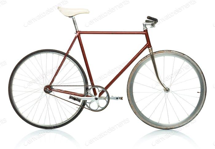Stilvolles Hipster-Fahrrad - fester Gang isoliert auf weiß