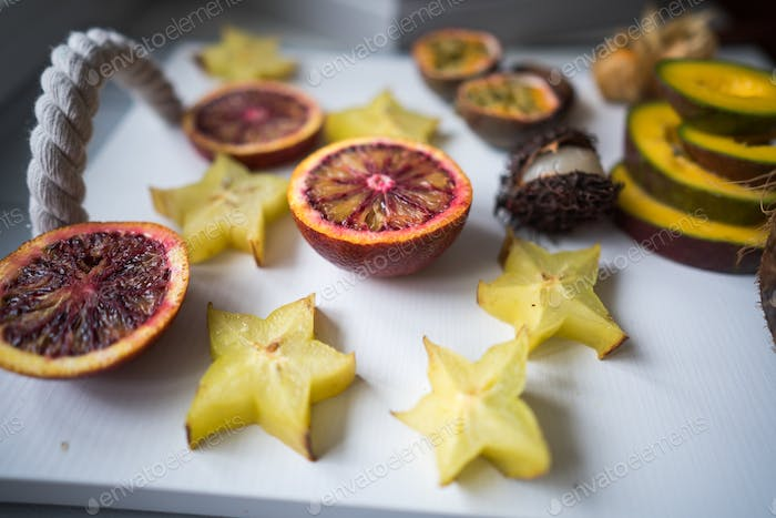 Exotic fruit platter.