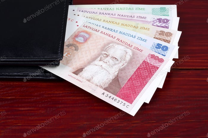Latvian money in the black wallet