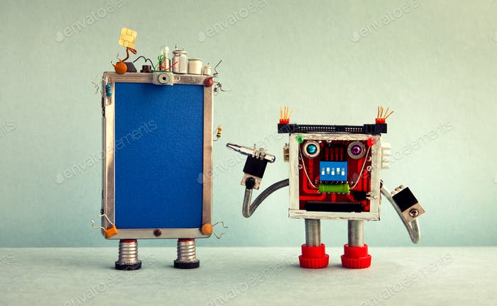 Robot handyman and broken smartphone. Robot serviceman with a screwdriver wants to fix the phone.