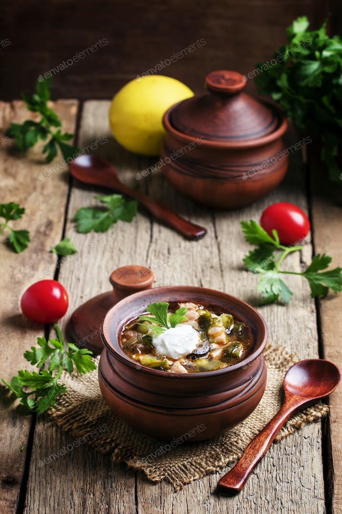 Russian cuisine: Solyanka - Soup from different kinds of meat and vegetables in a clay pot