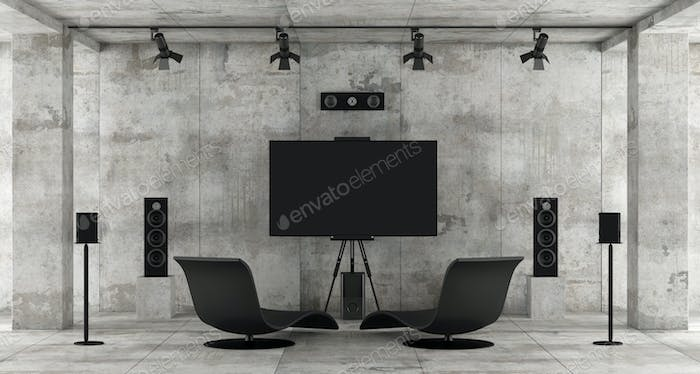 Home cinema system in a concrete room