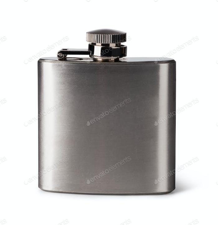 Flat metal flask