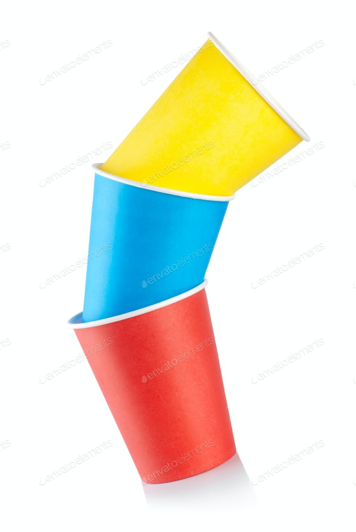 Three colored paper cups
