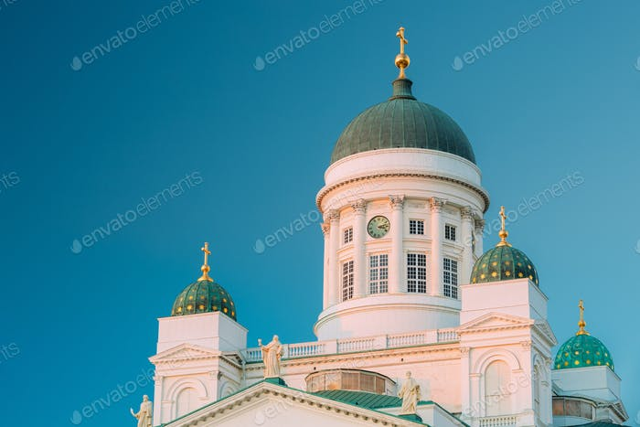 Helsinki, Finland. Close Up Of Lutheran Cathedral On Senate Squa